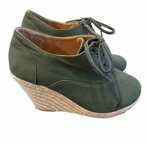 Torrid Wedge Espadrilles Lace Up Booties Green 9.5